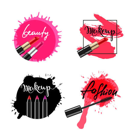 Set of vector labels, badges, banners with makeup cosmetic and lettering. Calligraphy words