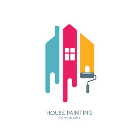 Illustration pour House painting service, decor and repair multicolor icon. label, emblem design. Concept for home decoration, building, house construction and staining. - image libre de droit