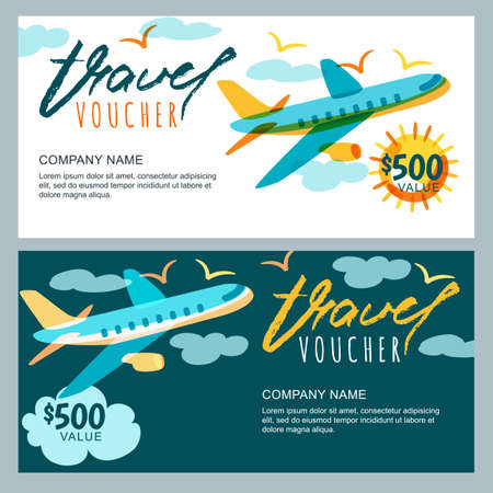 Photo pour Vector gift travel voucher template. Multicolor flying airplane in the sky. Concept for summer vacation, travel agency and sale ticket. Banner, coupon, certificate, flyer, ticket layout. - image libre de droit