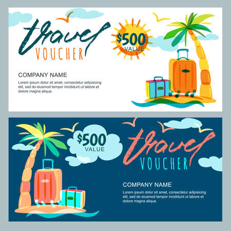 Illustration for Vector gift travel voucher template. Tropical island landscape with palm tree and luggage suitcase. Concept for summer vacation and travel agency. Banner, shop coupon, certificate or flyer layout. - Royalty Free Image