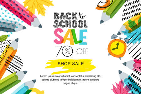 Illustration pour Vector horizontal back to school sale banner, poster background. Hand drawn sketch letters and doodle multicolor pencils on textured background. Layout for discount labels, flyers and shopping. - image libre de droit