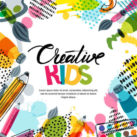Illustration pour Kids art, education, creativity class concept. Vector banner, poster or frame background with hand drawn calligraphy lettering, pencil, brush, paints and watercolor splash. Doodle illustration. - image libre de droit