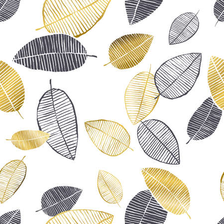 Illustration pour Vector seamless pattern with hand drawn golden, black, white leaves made with watercolor, ink and marker. Trendy scandinavian design concept for fashion textile print. Nature illustration. - image libre de droit