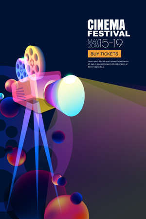 Illustration for Vector film and movie concept. Neon glowing cinema festival poster or banner layout. 3d style abstract movie camera with film spotlight. Sale cinema theater tickets and entertainment illustration. - Royalty Free Image