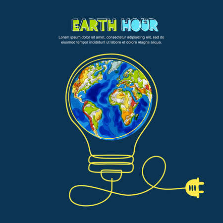 Ilustración de Energy saving and earth hour concept image illustration - Imagen libre de derechos