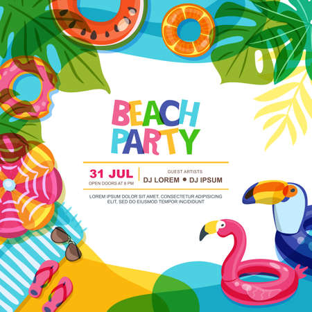 Ilustración de Beach party vector summer poster design template. Swimming pool with float rings doodle illustration. Multicolor inflatable kids toys. Trendy design concept for summer poster or banner. - Imagen libre de derechos