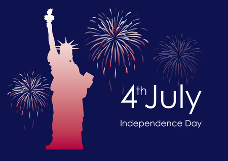 Independence Day USA vector. Statue of Liberty with fireworks. Festive vector illustration. America Independence Day. Important day