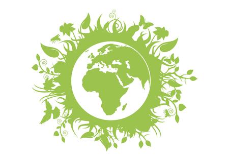 Ilustración de Green eco planet Earth vector. Green planet earth isolated on white background. Planet Earth with fauna and flora vector. Environmental concept with eco planet earth - Imagen libre de derechos