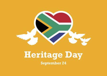 Illustration pour Vector Illustration Keywords: The flag of South Africa. Flag of South Africa in heart shape. South Africa flag heart. Heritage Day Poster, September 24th. Important day - image libre de droit