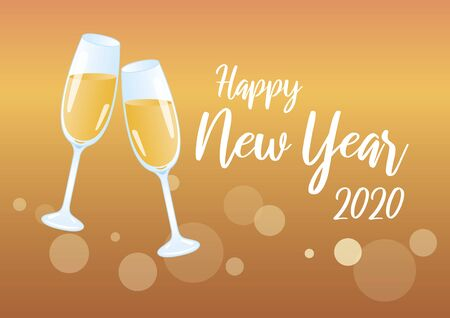 Ilustración de Golden Happy New Year 2020 Vector Illustration Keywords: Vector Illustration Keywords: Festive golden background. Shiny golden background - Imagen libre de derechos