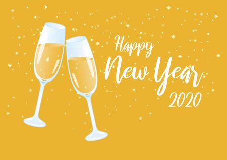 Ilustración de Happy New Year 2020 vector illustration. Vector Illustration Keywords: Vector Illustration Keywords: Festive starry background. Shiny golden background. Two glasses of champagne - Imagen libre de derechos