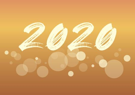 Ilustración de 2020 New Year Sign. 2020 New Year Poster. New Year 2020 Inscription on golden festive background. Brush painted number 2020 vector - Imagen libre de derechos
