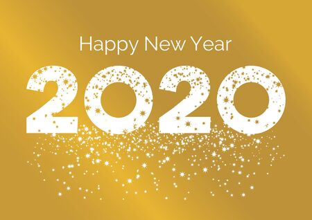 Ilustración de Happy New Year inscription on golden background. Happy New Year 2017 Sign. Golden Happy New Year 2016 on a starry background vector - Imagen libre de derechos