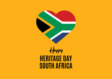 Illustration pour Happy Heritage Day South Africa vector. Flag of South Africa in heart shape vector. Public holiday in South Africa. Important day - image libre de droit