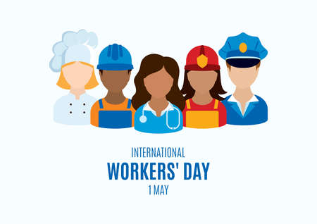 Illustration for International Workers' Day Poster with man and woman worker vector. Professional man and woman occupation icon set vector. Various occupations icons. Different professions vector. 1 May, Important day - Royalty Free Image