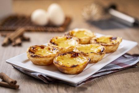 Typical Portuguese custard pies - Pastel de Nata or Pastel de Belem. traditional portuguese pastry.