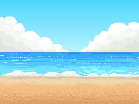 Illustration pour Retro pixel 8 bit background. beach, - image libre de droit