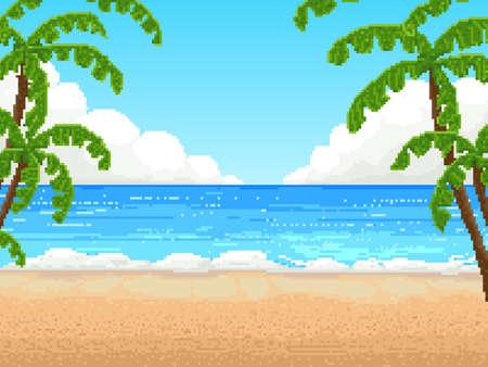 Illustration pour Retro pixel 8 bit background. beach, palm - image libre de droit