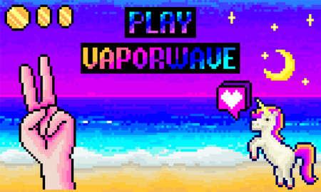 Computer Pixel Game Vector Retro Background 90s 80s 8 Bit
