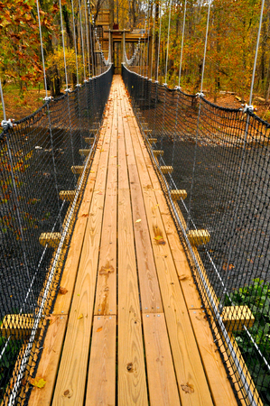 Swinging Bridge crossing a river in Tennessee