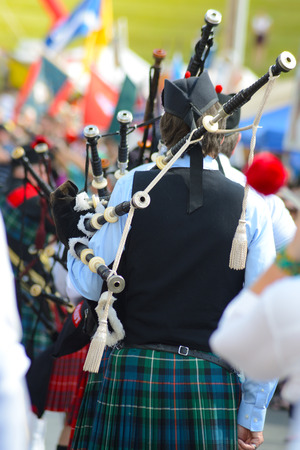 Scotts-Irish festival bagpipes being played.