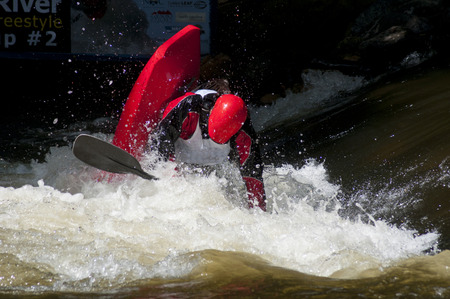 Kayak competition in the Pigeon River.