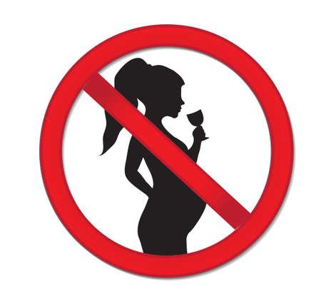 Vektor für Pregnancy no drinking alcohol. Red prohibition sign-pregnant woman with a drink of wine. - Lizenzfreies Bild