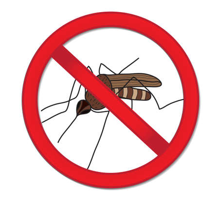 Red sign ban mosquito. Stop mosquito insect. Vector illustration