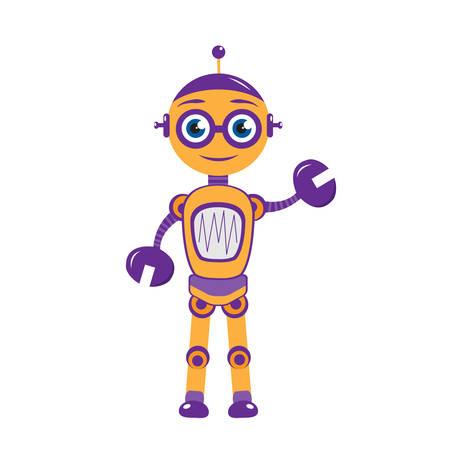 Illustration pour Cartoon mascot robot, robot character. - image libre de droit