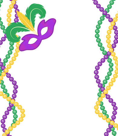 Illustration pour Mardi Gras beads colored frame with a mask, isolated on white background. Mardi Gras template poster. Vector illustration - image libre de droit