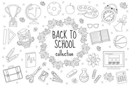 Back To School Coloring Page Stock Illustrations – 764 Back To ... | 300x450