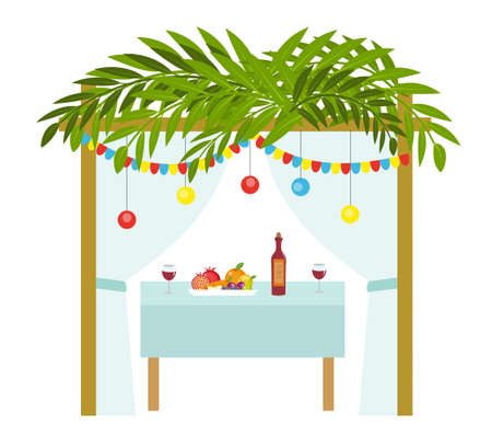Illustration pour Sukkah for the Sukkot holiday. Jewish tent to celebrate. Isolated on white background. Vector illustration - image libre de droit