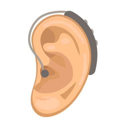 Illustration for Hearing aid icon flat style. Ear on a white background. Medicine concept. Vector illustration - Royalty Free Image