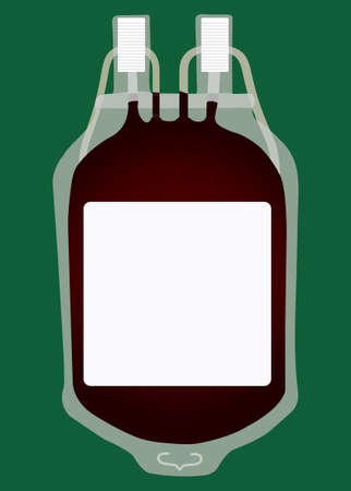 Blood collection bag vector on green background