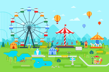 Amusement park vector flat illustration at daytime with ferris wheel, circus, carousel, attractions, landscape and city background.
