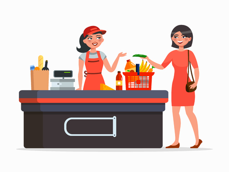 Illustration pour Cashier and buyer at the supermarket vector flat illustration isolated on white background. - image libre de droit