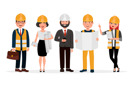 Illustration pour Engineers cartoon characters isolated on white background. Group of Technicians, builders, mechanics and work people vector flat illustration. - image libre de droit
