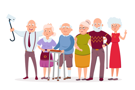 Illustration for Set of cheerful senior people hipsters gathering and having fun, old men and women make selfie vector cartoon characters. Funny Elderly vector concept illustration in flat design isolated on white. - Royalty Free Image