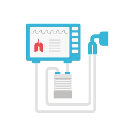 Ilustración de Medical ventilator vector flat illustration isolated on white background. Mechanical respirator icon for medical infographic. Lungs mechanical ventilation concept illustration - Imagen libre de derechos