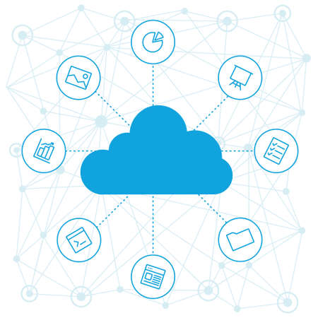Illustration pour Sharing of working files and reference materials employees project. Tools for business and work. Cloud technologies and services on the devices. Social networking and media, technologies and trends. - image libre de droit