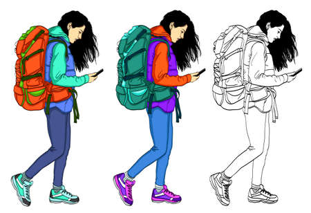 Vektor für Set of vector illustrations of girls in casual, comfortable clothes. Girl with mobile phone on white background - Lizenzfreies Bild