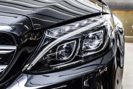 Photo for Car polishing series : Clean black car - Royalty Free Image
