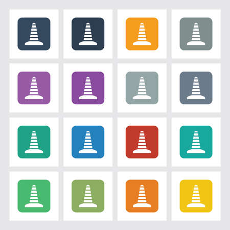 Very Useful Flat Icon of Construction Cone with Different UI Colors.