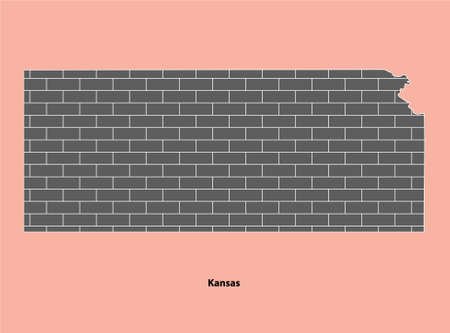 Illustration pour Bricked texture map of United State Kansas Isolated on Light Brown background - image libre de droit