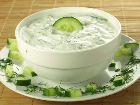Sauce with yogurt and cucumber for starter