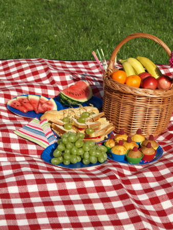 Summer picnic in the morning, colorful napkins