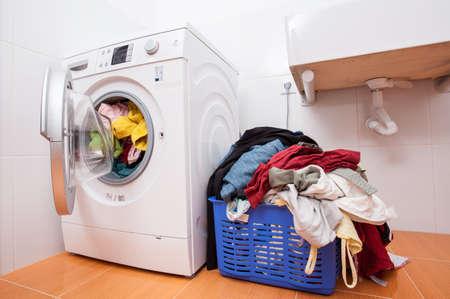 Big heap of dirty clotches ready to washing