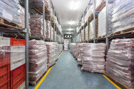 Warehouse, refrigerator with meat ready for sale