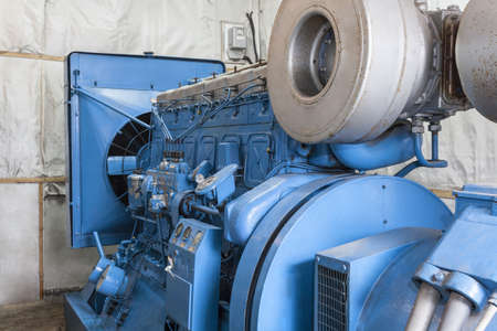 Closeup of modern generator in a factory