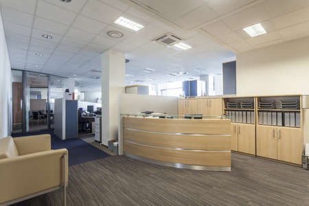 Modern interior with reception desk, new office